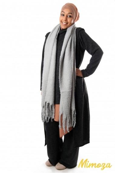 Ultra soft long fringed scarf