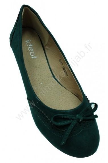 Green Suede Ballerina