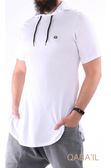Tee shirt capuche manches courte uni Qaba'il