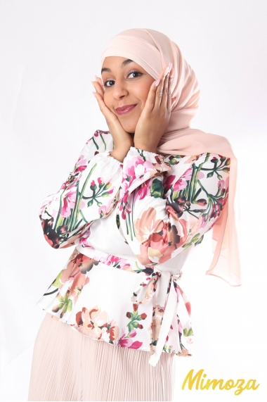 Floral top with satin heart cover