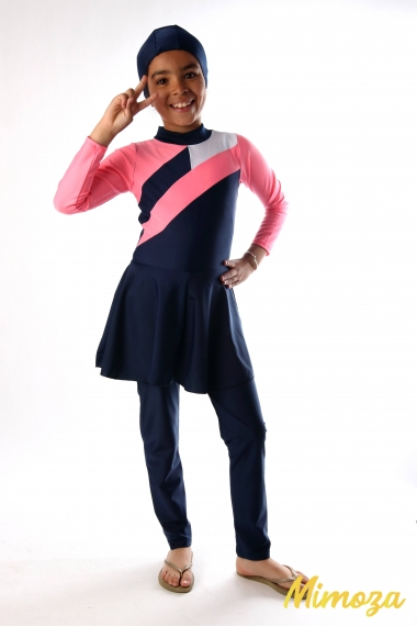Burkini jumpsuit with integrated skirt + hat