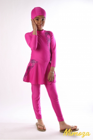 Burkini Jacotie zebra jumpsuit with skirt and hat