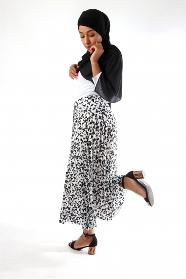 Jollya leopard pleated skirt