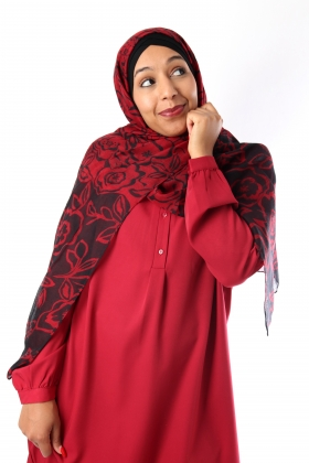 Maxi Hijab printed large flowers and bi-color