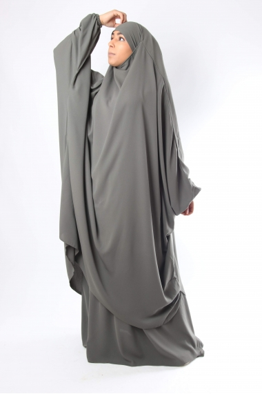 Half Jilbab with Flared Skirt El bassira Chinese Caviary