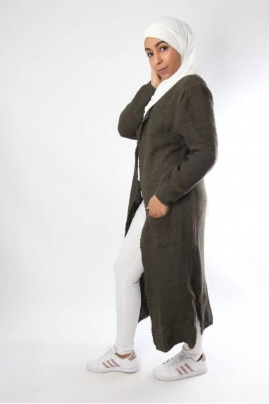 Gilet long Imane avec poches et fentes