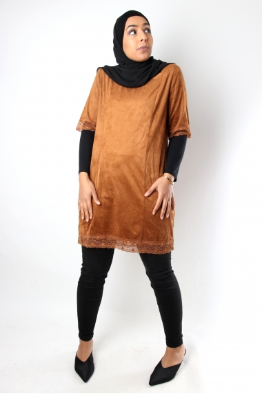 Suede and lace tunic