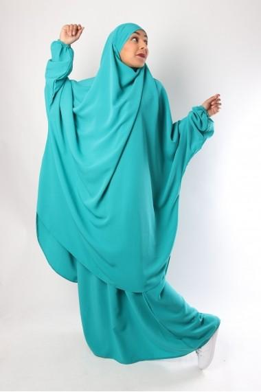 Demi jilbab avec jupe Microfibre Royal