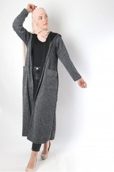 Barbara long hooded cardigan