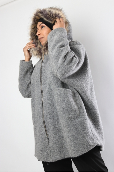 Souheila coat with hooded zip