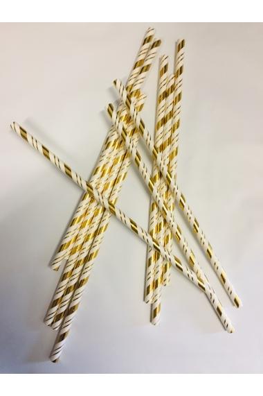 Lot de 25 pailles doré spirale