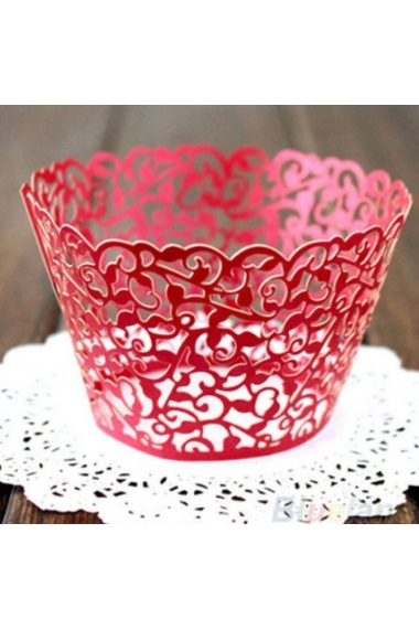 Lot of 10 Borders Colerettes for CupCake Lace Effect in Metallic Paper
