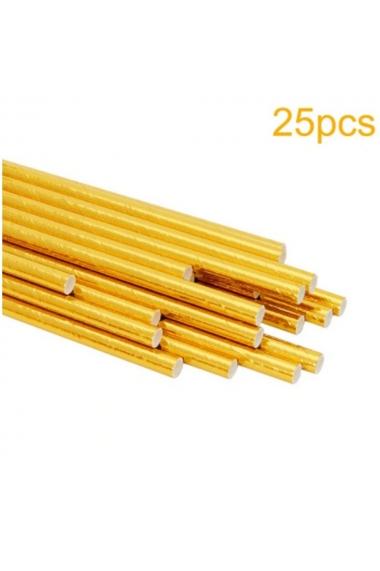 Set of 25 plain golden straws