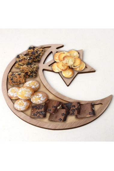 Plateau à gâteaux en bois en forme de lune et étoile