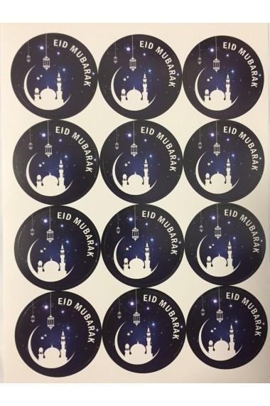 Lot de 12 Stickers Lune et mosquée Eid Mubarak