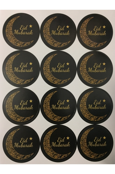 Lot de 12 Stickers Lune arabesque Eid Mubarak