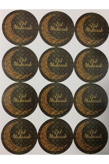 Set of 12 Eid Mubarak Arabesque Moon Stickers