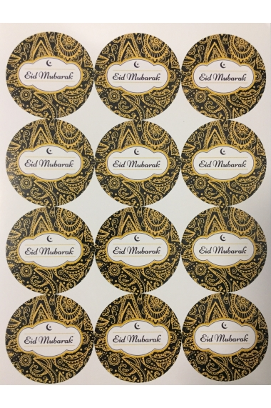 Set of 12 Arabesque afrika Eid Mubarak Stickers