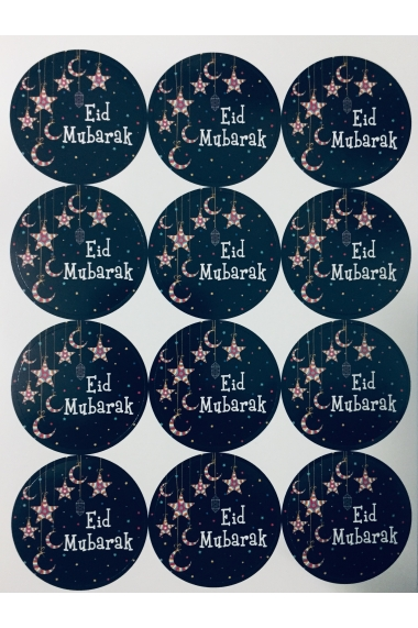 Lot de 12 Stickers étoiles et lune Eid Mubarak