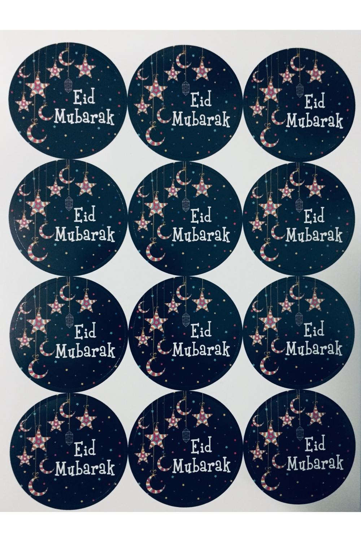 Set Of 12 Eid Mubarak Star And Moon Stickers