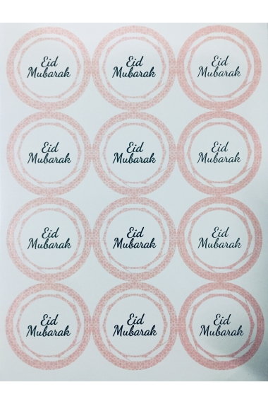 Set of 12 Eid Mubarak pink and black stickers