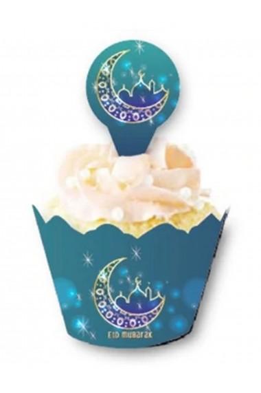 Lot de 12 entourage cupcake avec pique lune et mosquée Eid mubarak