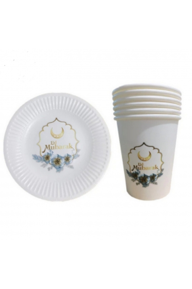 Set of plate and disposable glass Eid Mubarak golden moon flower
