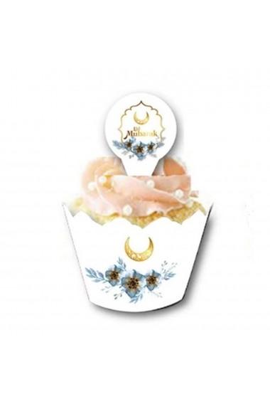 Set of 12 cupcake entourage with golden moon spike flowers Eid mubarak