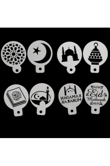 Set of 8 small stencils Eid and Ramadan Mubarak
