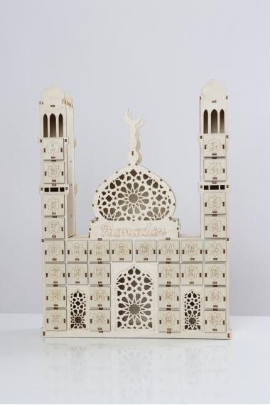 Ramadan mosque calendar in wood
