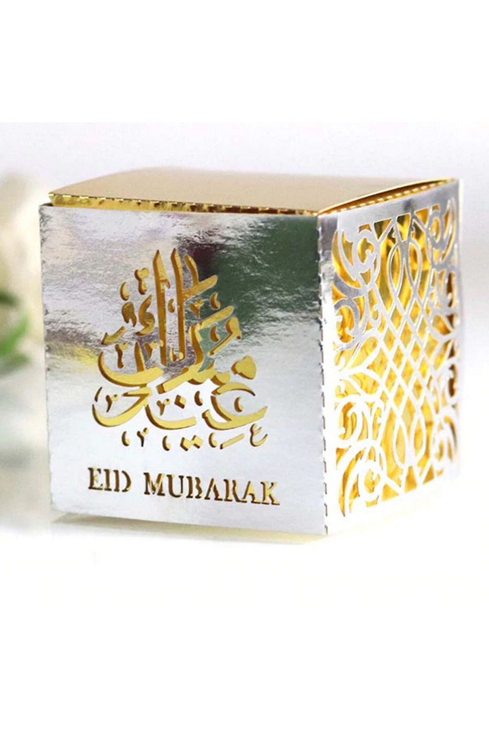 Eid Mubarak Calligraphy Candy Box Or Cookie Batch Of 10 Color Silver Color Silver