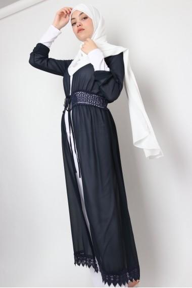 Kimono Tunique Narimanne mi-long avec dentelle