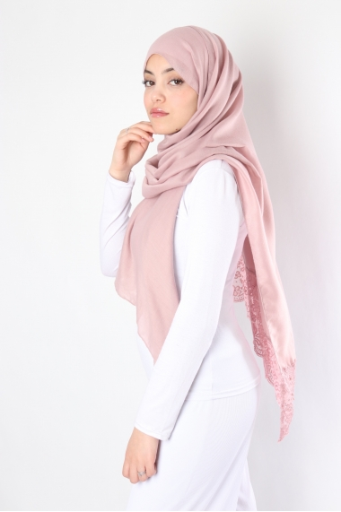 Maxi Hijab Winter dentelle et perles