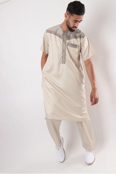 Ensemble pakistanais Al Atlas bicolore manches courtes