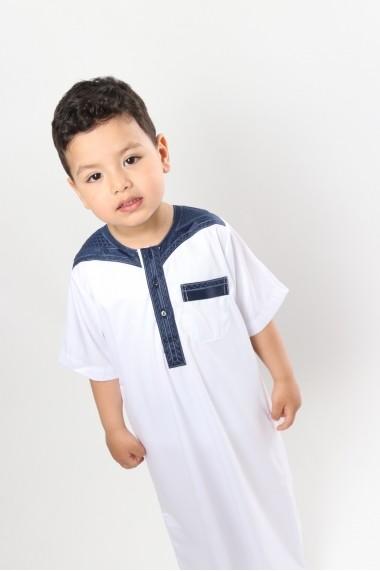 Qamis Atlas manches courtes bicolore garçon et adolescent