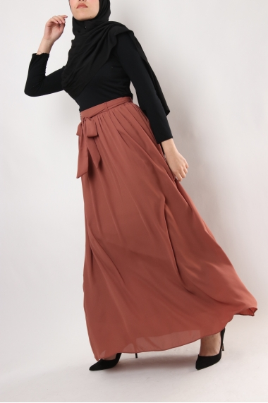 Long skirt BAYOUA with tie belt