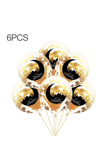 Set of 6 moon and mosque confetti balloons