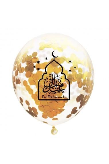 Lot de 6 ballons confettis Eid mubarak calligraphié