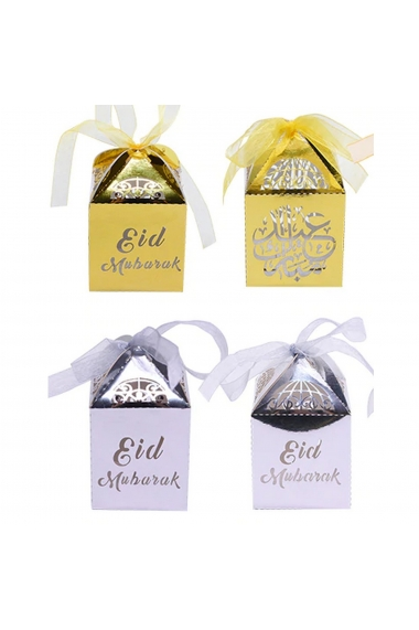 Lot of 10 candy box with eid mubarak and calligraprie bow