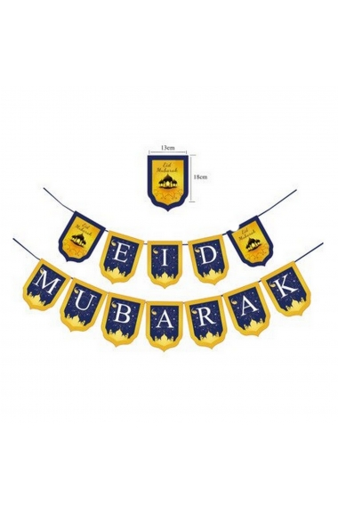 Blue and yellow eid mubarak pennant banner