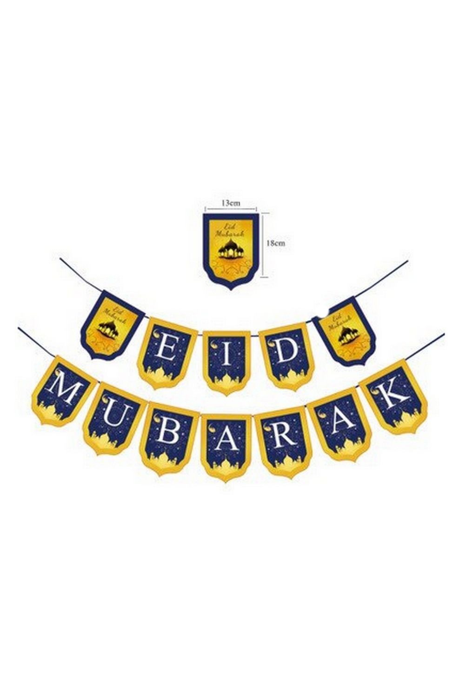 Banderole fanion bleu et jaune eid mubarak