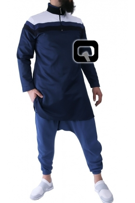 Qamis court bandes couleurs